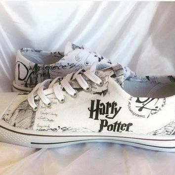 Custom Harry Potter inspired shoes - Dumbledore's Army fabric trainers
