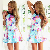 New Sexy Women Sleeveless Floral Summer Beach Party Evening Cocktail Mini Dress