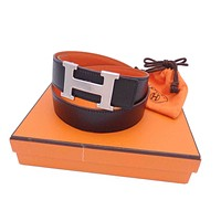 Auth HERMES Square F(2002) Reversible Constance Belt Black/Orange Size:70 e32364