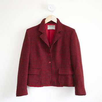 Boxpark Jacket ~ Vintage 1980s Jaeger Jacket ~ Red And Black Herringbone 80s Wool Jacket