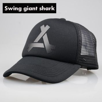 [Swing giant shark] New Summer Baseball Mesh Cap Snapback Dad Hat Fashion Polo Trucker