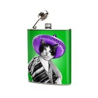 Mexican Cat 6oz Stainless Steel Graphic Hip Flask