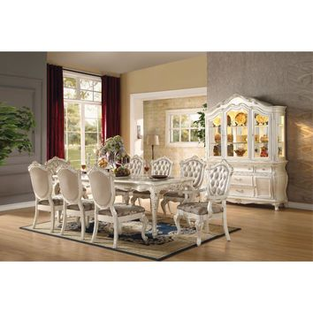 Alluring Dining Table, Marble & Pearl White By ACME