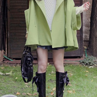 New Raccoon Hair Bat Sleeve Cape Woolen Overcoat,Cheap in Wendybox.com