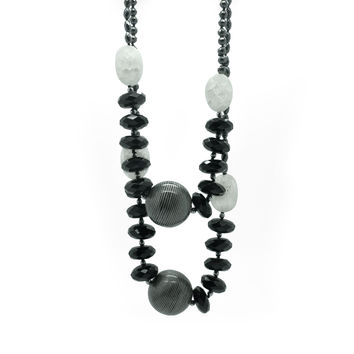 Composition in Rock Crystal and Wood, Necklace