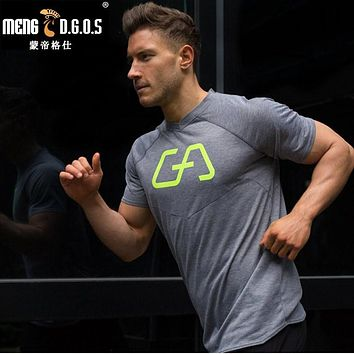 Men summer gyms t shirt Fitness Bodybuilding Crossfit Cotton Shirts Short Sleeve workout male sporting Brand Tee Tops clothing