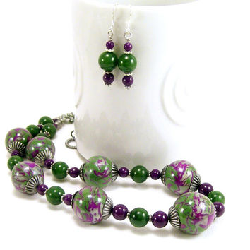 Olive and Plum Stone Beaded Earrings~ Gemstone Jewelry