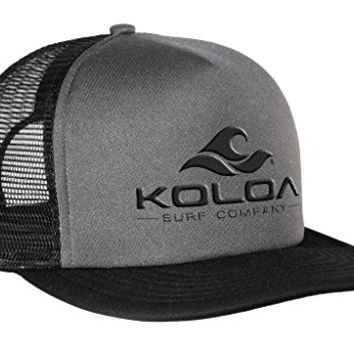 Koloa Surf(tm) Mesh Back Trucker Hat Black/Grey with Black Logo