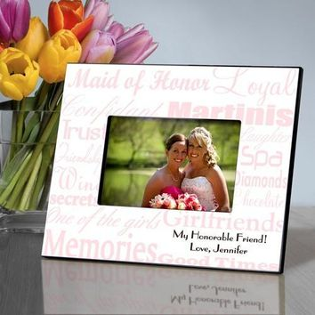 Maid of Honor Frame - Pink on White