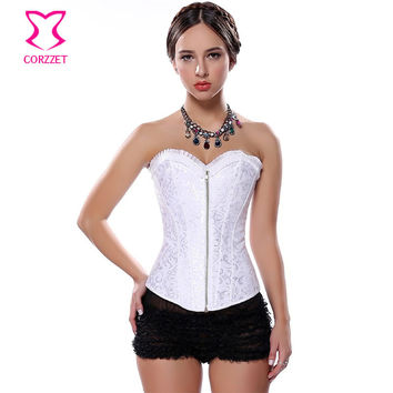 White Wedding Bustier Steel Boned Waist Trainer Corset Zipper Corpetes E Espartilhos Sexy Corsets and Bustiers Bridal Lingerie