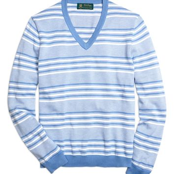 St Andrews Links Bird's-Eye Striped V-Neck Sweater - Brooks Brothers