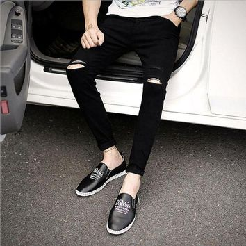 VONE05F8 slim mid hole men jeans stretch destroyed ripped design nine pants korean ankle zipper skinny jeans for man 1