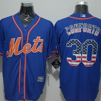 York Mets #30 Michael Conforto Blue USA Flag  Stitched Jerseys MLB Baseball Jersey