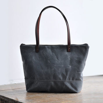 ZIP TOTE  waxed canvas charcoal by bookhouathome on Etsy