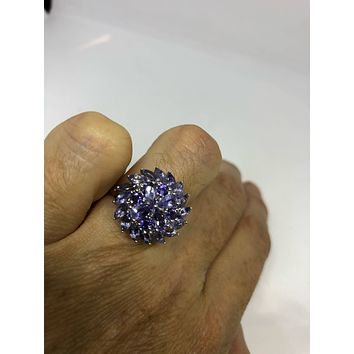 Start Your Holiday Shopping!!! Vintage Handmade Genuine blue Iolite 925 Sterling Silver Gothic Ring