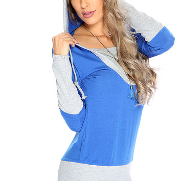 Casual Cute Blue Two Tone Hooded Sweater Dress