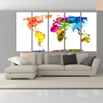 Large world map canvas art print, modern wall decor, extra large wall art set canvas print, world map wall decals No:7S07