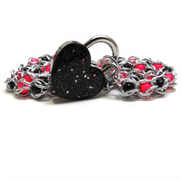 Locking Day Collar Black & Neon Pink Swarovski Pearls Sparkly Black Heart Lock