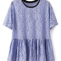 ROMWE contrast Trimming Lace Hollow Purple Blouse