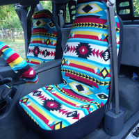 1 Set of Bright Southwest Print  Seat Covers and Steering Wheel Cover Custom Made