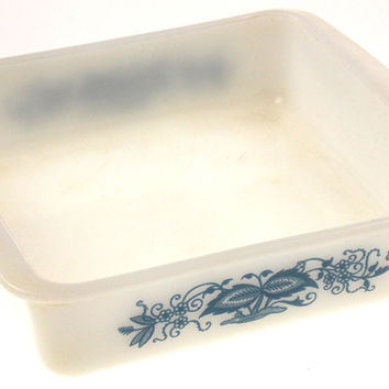 "Glasbake 8"" Square Casserole Baking Dish White Blue Flowers Made USA Vintage"