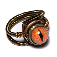 Steampunk Jewelry  Ring  Orange taxidermy by CatherinetteRings