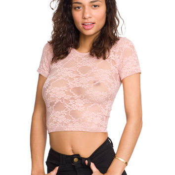 Stretch Floral Lace Crop Top | Short Sleeves | Women's Crop Tops | American Apparel