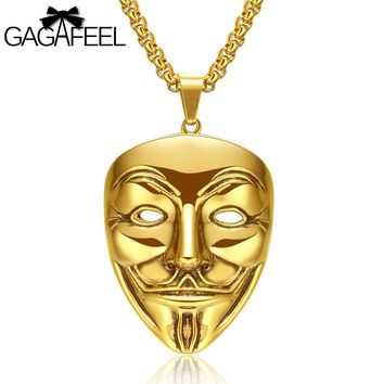 GAGAFFEL Cool Mask Necklaces Pendant Movie V For Vendetta For Men 316L Stainless Steel Jewelry For Mysterious Evening Party