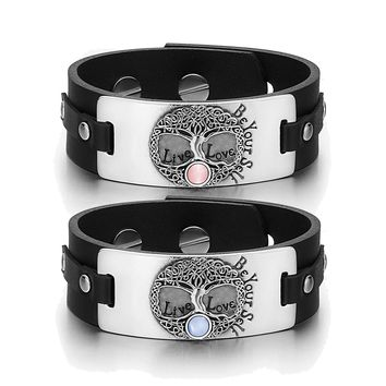 Tree of Life Celtic Powers Love Couples Pink Sky Blue Simulated Cats Eye Black Leather Bracelets