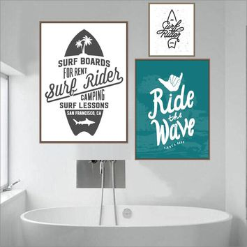 Surf Rider Posters And Prints Wall Art Canvas Painting Surfing Wall Picture Coastal Art Decoration