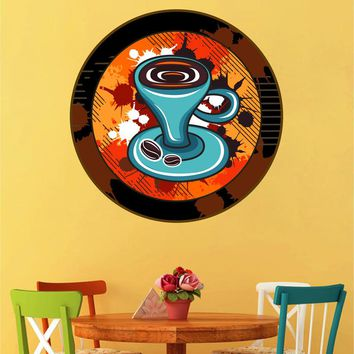 cik1469 Full Color Wall decal Vintage cup coffee house cafe restaurant