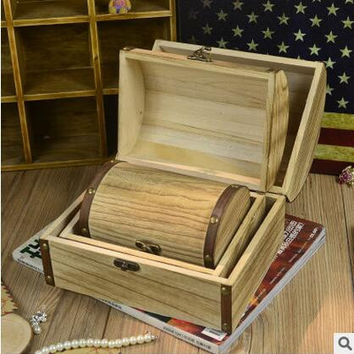 3sizes/set Continental retro antique wooden treasure chest storage box creativity jewelry box Korea princess jewelry box