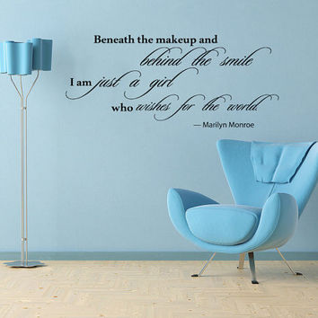 Housewares Marilyn Monroe Quote Wall Vinyl Decal Beneath the makeup, behind the smile V273