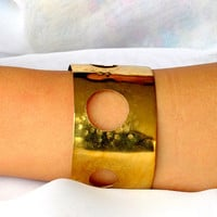 Formed brass cuff, open work artisan armband, synclastic bracelet, gift under 40
