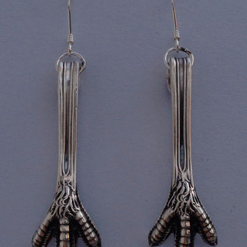 Vintage Durgin Sterling Silver Sugar Tong Claw Earrings