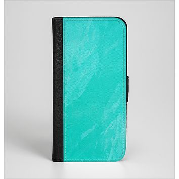 The Subtle Neon Turquoise Surface Ink-Fuzed Leather Folding Wallet Case for the iPhone 6/6s, 6/6s Plus, 5/5s and 5c