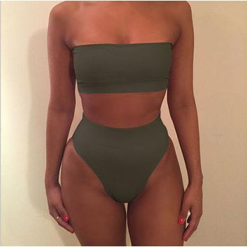 Sexy strapless nude two piece high waist bikini off shoulder Green