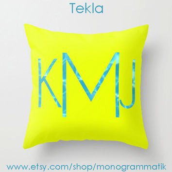 "Monogram Personalized Custom Pillow Cover ""Tekla"" 16"" x 16"" Couch Art Bedroom Decor Initials Name Letters Bright Yellow Pool Reflection"