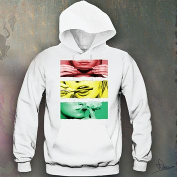 Sexy Girl Rolling A Blunt Rasta Colors Hooded Sweatshirt Funny and Music