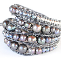 Wrap Bracelet - Large Grey Pearls