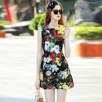Beading Sequins Appliques Womens Floral Print Sleeveless Mini Dress