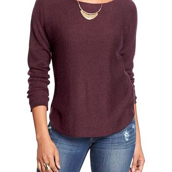 Women's Boat-Neck Curved-Hem Sweaters