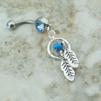 Small Tiny Blue Dream Catcher Belly Button Ring