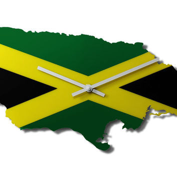 Map Wall Clock - Jamaica Map and National Flag