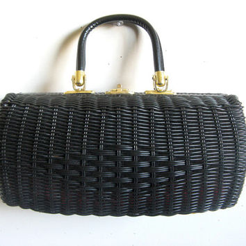 Vintage 1960s Wicker Purse Black Woven Rectangular Hard Body Handbag