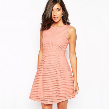 Mesh Stripe A-Line Sleeveless Dress