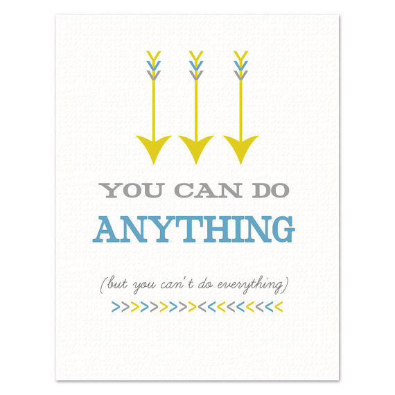 You Can Do Anything ART PRINT Yellow Gray and by BubbyAndBean