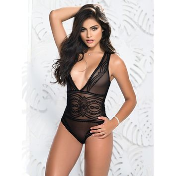 Sheer Plunging Neck Lace Teddy