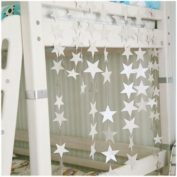ESBONHS Wall Hanging Paper Star Garlands 4m Long Birthday String Chain Wedding Party Banner Handmade Kids Room Door Christmas Home Decor