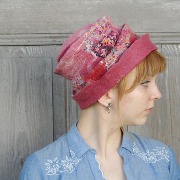 Unique sculptural felted hat, hand shaped free style fashion, woman hat, shades of dirty pink, nuno felted designer hat, wearable art, OOAK